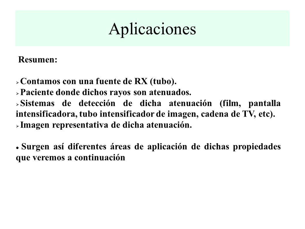 Aplicaciones Resumen: Contamos con una fuente de RX (tubo).