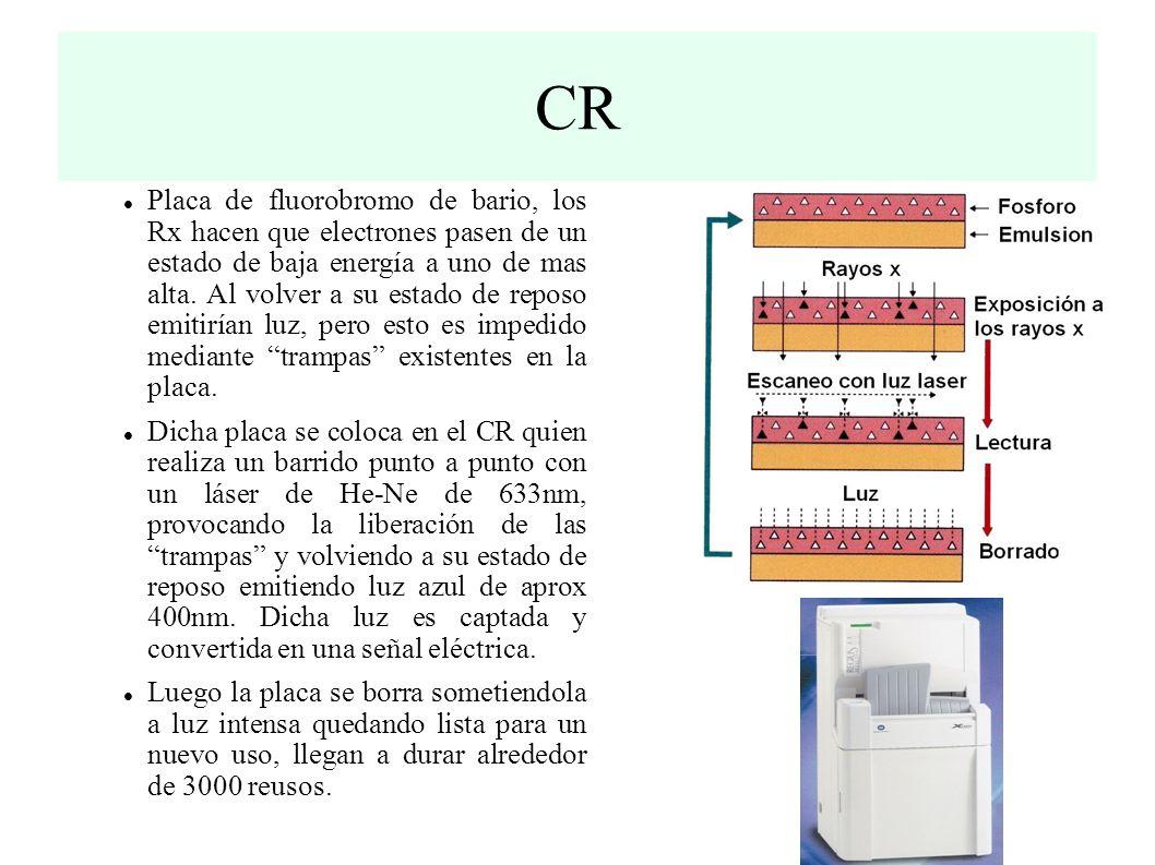 CR Placa de fluorobromo de bario, los Rx hacen que electrones pasen de un estado de baja energía a uno de mas alta.