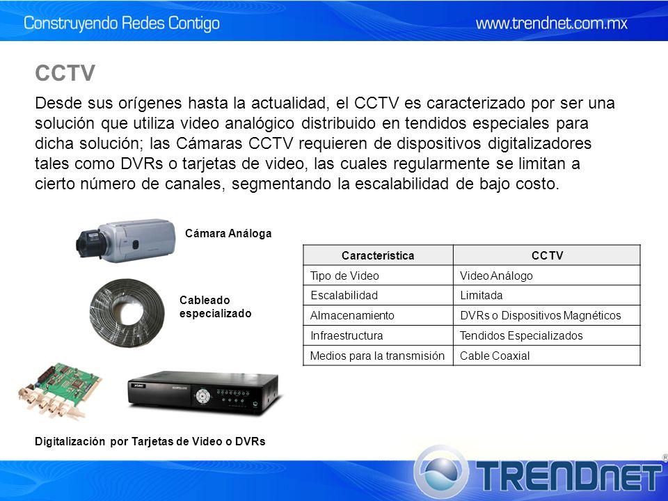 Desde sus orígenes hasta la actualidad, el CCTV es caracterizado por ser una solución que utiliza video analógico distribuido en tendidos especiales para dicha solución; las Cámaras CCTV requieren de dispositivos digitalizadores tales como DVRs o tarjetas de video, las cuales regularmente se limitan a cierto número de canales, segmentando la escalabilidad de bajo costo.