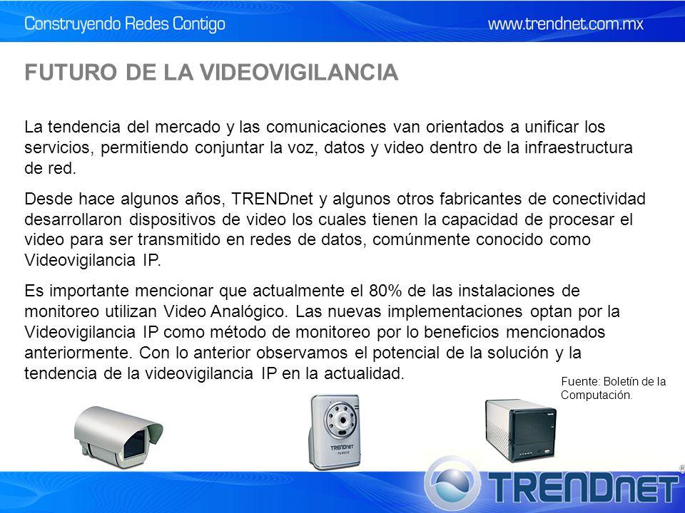 FUTURO DE LA VIDEOVIGILANCIA La tendencia del mercado y las comunicaciones van orientados a unificar los servicios, permitiendo conjuntar la voz, datos y video dentro de la infraestructura de red.