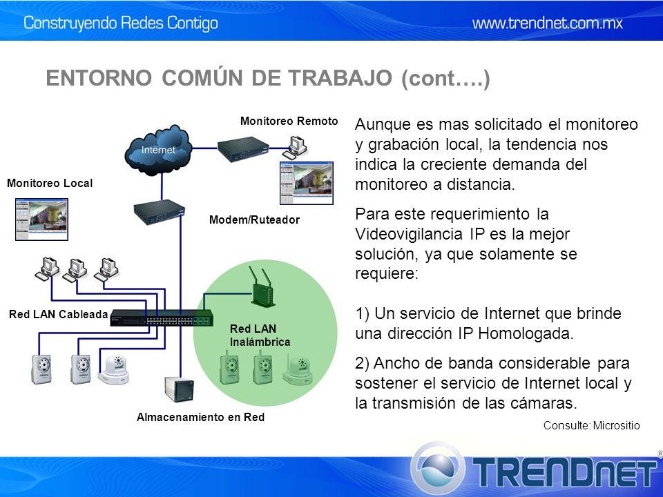 ENTORNO COMÚN DE TRABAJO (cont….) Aunque es mas solicitado el monitoreo y grabación local, la tendencia nos indica la creciente demanda del monitoreo a distancia.