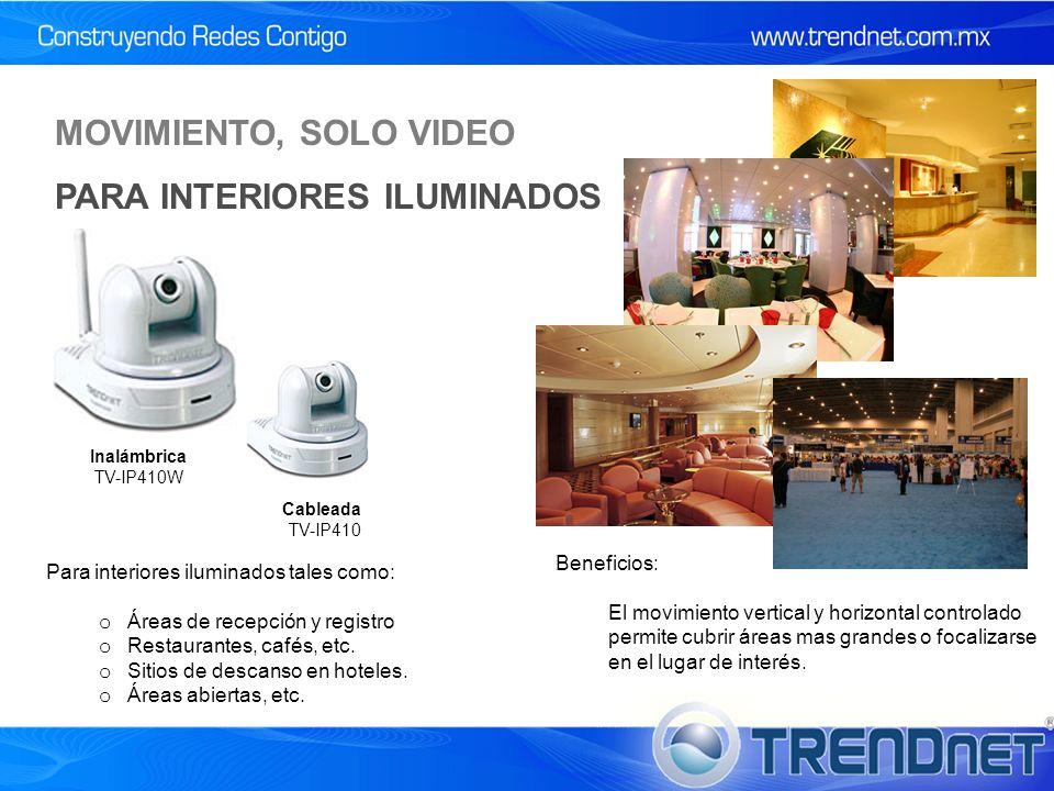 MOVIMIENTO, SOLO VIDEO PARA INTERIORES ILUMINADOS Cableada TV-IP410 Inalámbrica TV-IP410W Para interiores iluminados tales como: o Áreas de recepción y registro o Restaurantes, cafés, etc.