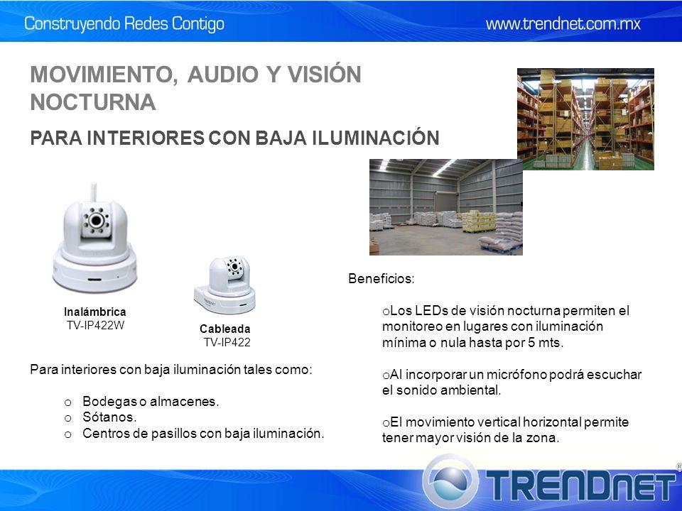 Cableada TV-IP422 Inalámbrica TV-IP422W Para interiores con baja iluminación tales como: o Bodegas o almacenes.