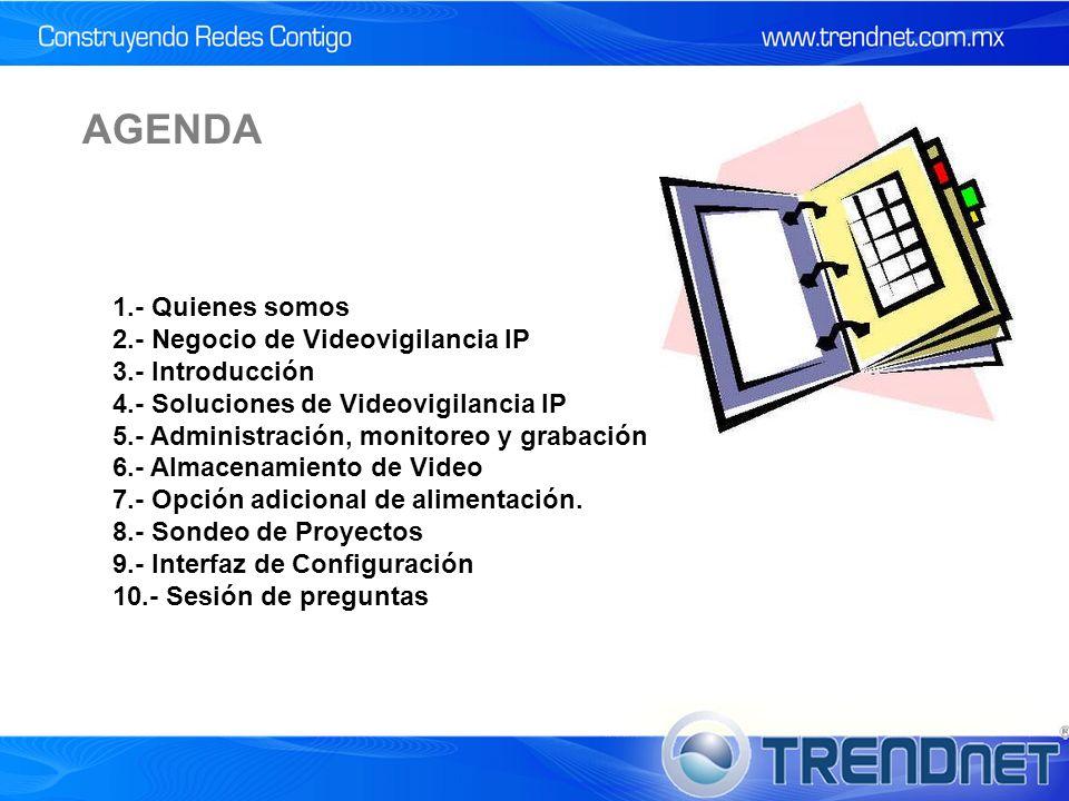 1.- Quienes somos 2.- Negocio de Videovigilancia IP 3.- Introducción 4.- Soluciones de Videovigilancia IP 5.- Administración, monitoreo y grabación 6.- Almacenamiento de Video 7.- Opción adicional de alimentación.