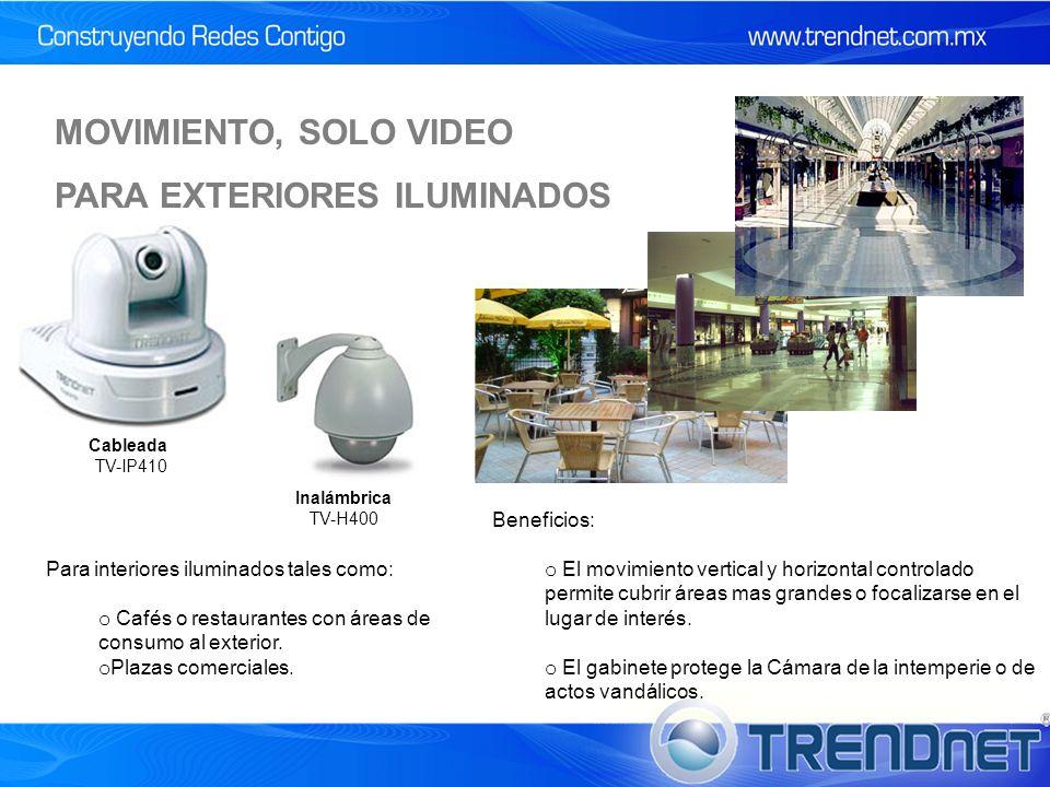 Cableada TV-IP410 Inalámbrica TV-H400 Para interiores iluminados tales como: o Cafés o restaurantes con áreas de consumo al exterior.