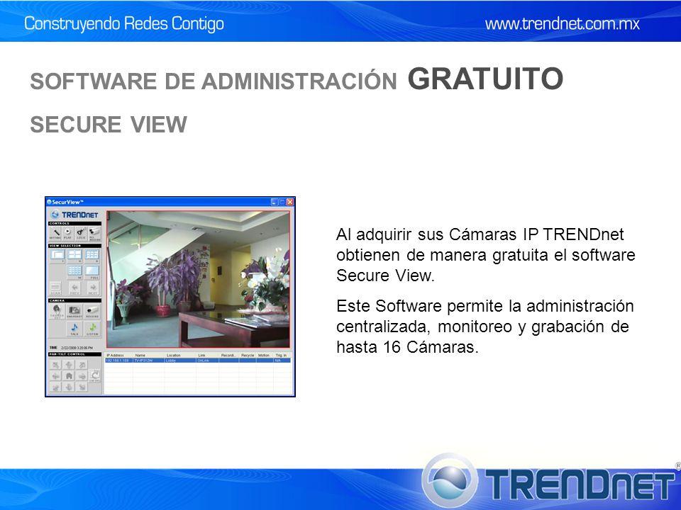 SOFTWARE DE ADMINISTRACIÓN GRATUITO SECURE VIEW Al adquirir sus Cámaras IP TRENDnet obtienen de manera gratuita el software Secure View.