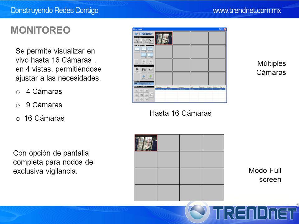 MONITOREO Modo Full screen Múltiples Cámaras Hasta 16 Cámaras Se permite visualizar en vivo hasta 16 Cámaras, en 4 vistas, permitiéndose ajustar a las necesidades.