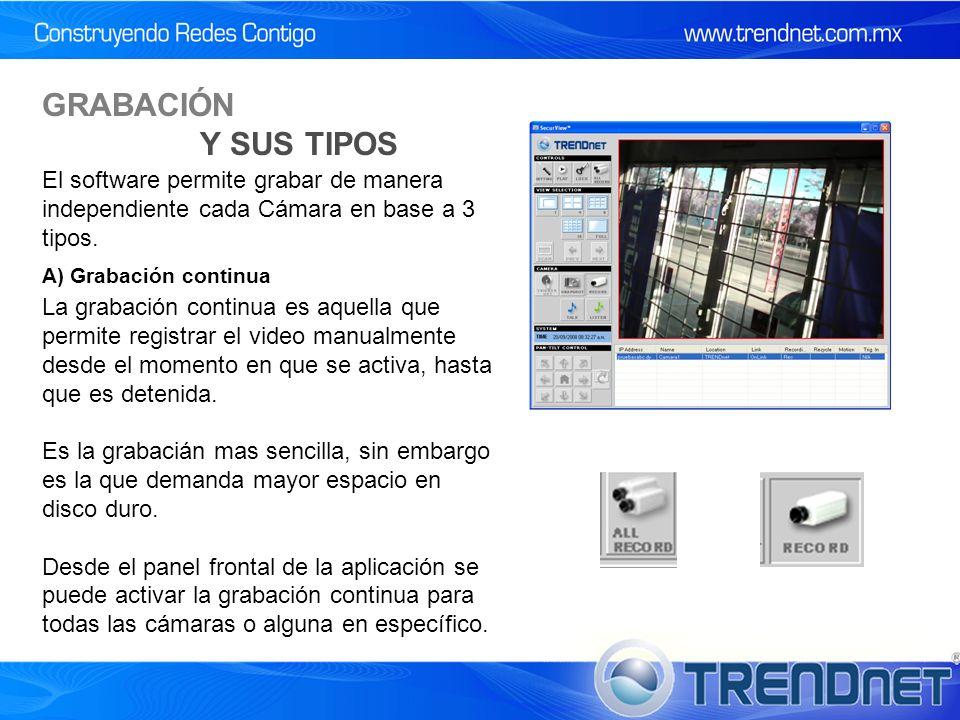 GRABACIÓN Y SUS TIPOS La grabación continua es aquella que permite registrar el video manualmente desde el momento en que se activa, hasta que es detenida.