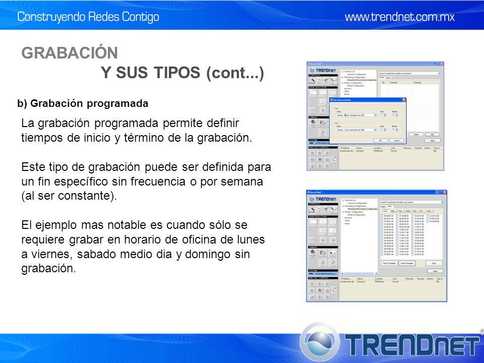 La grabación programada permite definir tiempos de inicio y término de la grabación.