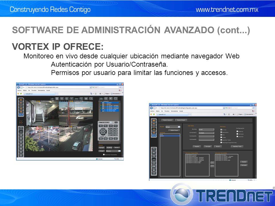 Monitoreo en vivo desde cualquier ubicación mediante navegador Web Autenticación por Usuario/Contraseña.
