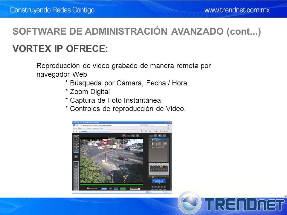 Reproducción de video grabado de manera remota por navegador Web * Búsqueda por Cámara, Fecha / Hora * Zoom Digital * Captura de Foto Instantánea * Controles de reproducción de Video.