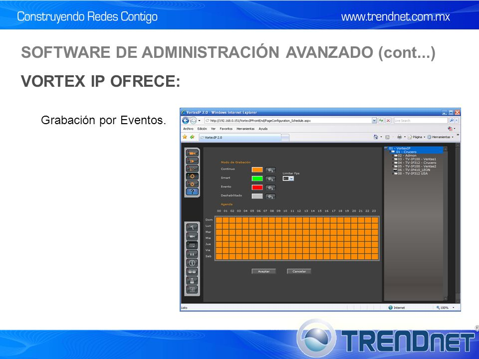 Grabación por Eventos. SOFTWARE DE ADMINISTRACIÓN AVANZADO (cont...) VORTEX IP OFRECE: