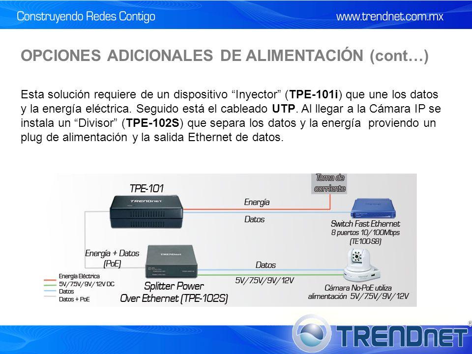 OPCIONES ADICIONALES DE ALIMENTACIÓN (cont…) Esta solución requiere de un dispositivo Inyector (TPE-101i) que une los datos y la energía eléctrica.