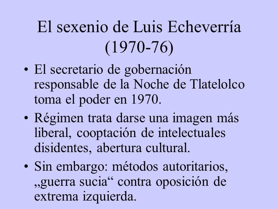 El sexenio de Luis Echeverría (1970-76) El secretario de gobernación responsable de la Noche de Tlatelolco toma el poder en 1970. Régimen trata darse