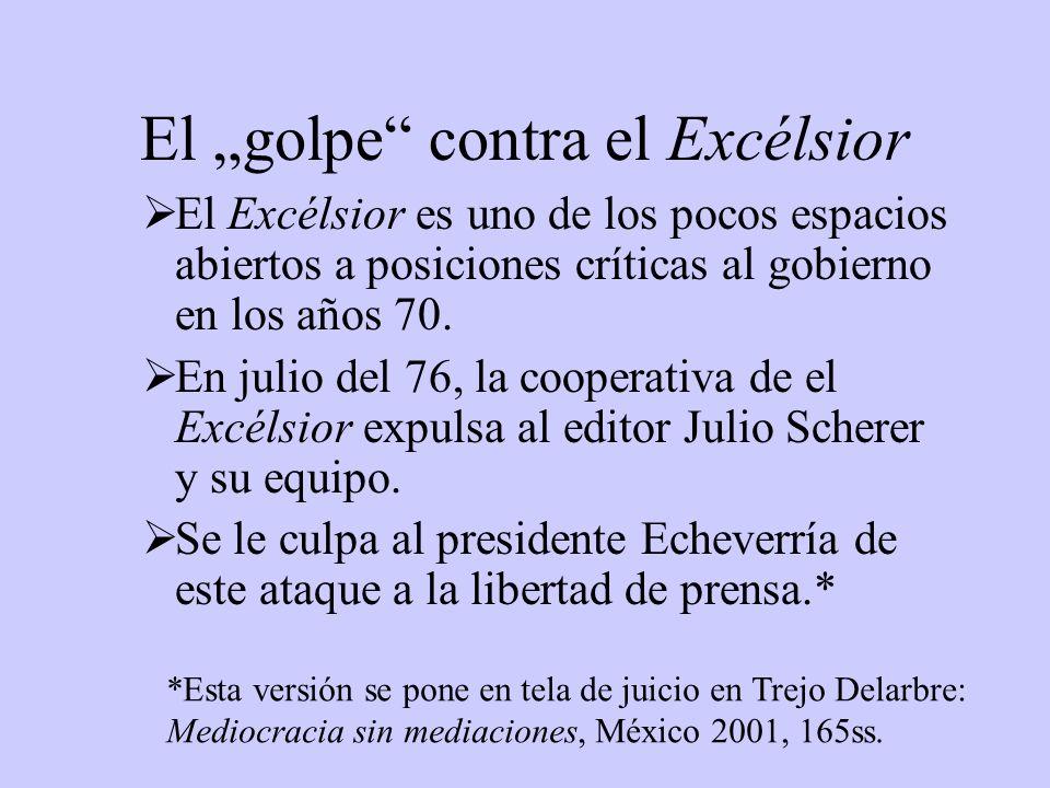 El golpe contra el Excélsior El Excélsior es uno de los pocos espacios abiertos a posiciones críticas al gobierno en los años 70. En julio del 76, la
