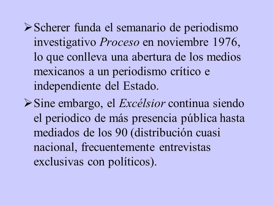 Scherer funda el semanario de periodismo investigativo Proceso en noviembre 1976, lo que conlleva una abertura de los medios mexicanos a un periodismo