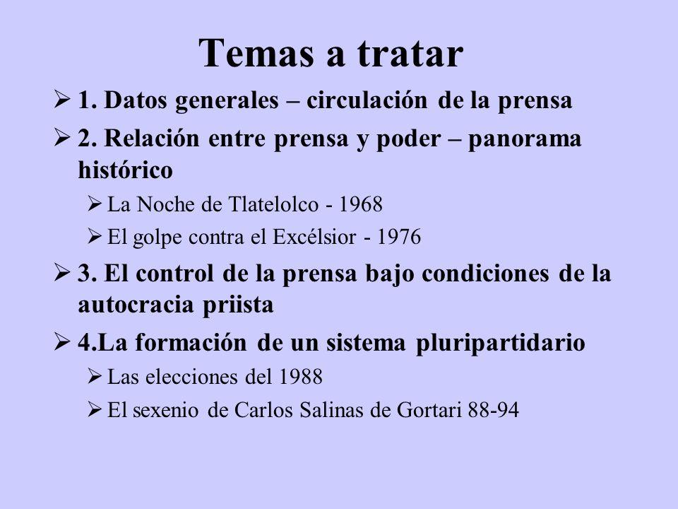 Temas a tratar 1. Datos generales – circulación de la prensa 2. Relación entre prensa y poder – panorama histórico La Noche de Tlatelolco - 1968 El go