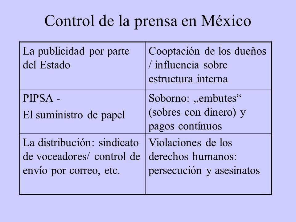 Control de la prensa en México La publicidad por parte del Estado Cooptación de los dueños / influencia sobre estructura interna PIPSA - El suministro