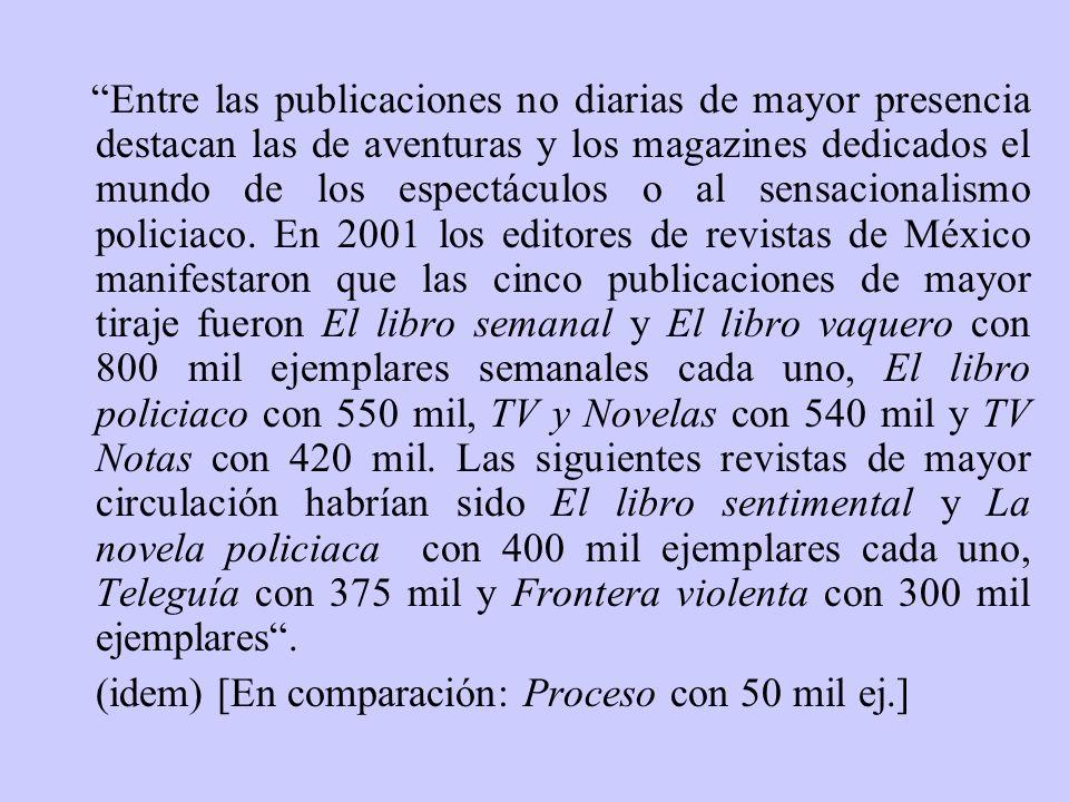 Entre las publicaciones no diarias de mayor presencia destacan las de aventuras y los magazines dedicados el mundo de los espectáculos o al sensaciona