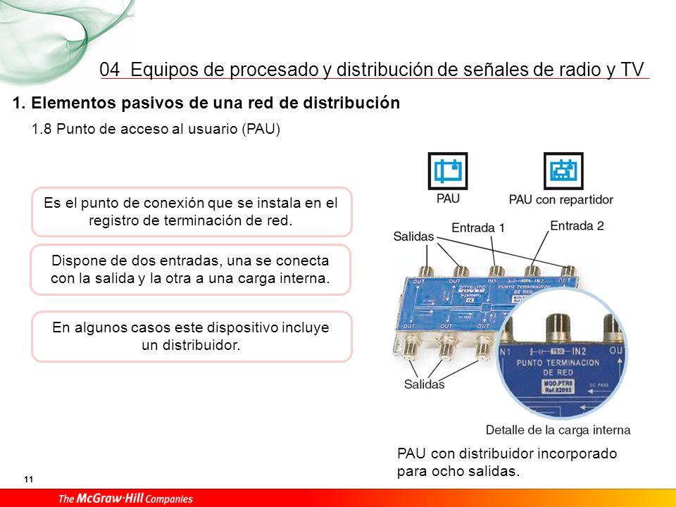 Equipos de procesado y distribución de señales de radio y TV 11 04 1. Elementos pasivos de una red de distribución PAU con distribuidor incorporado pa