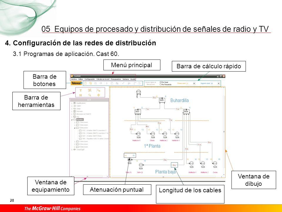 Equipos de procesado y distribución de señales de radio y TV 28 05 3.1 Programas de aplicación. Cast 60. 4. Configuración de las redes de distribución