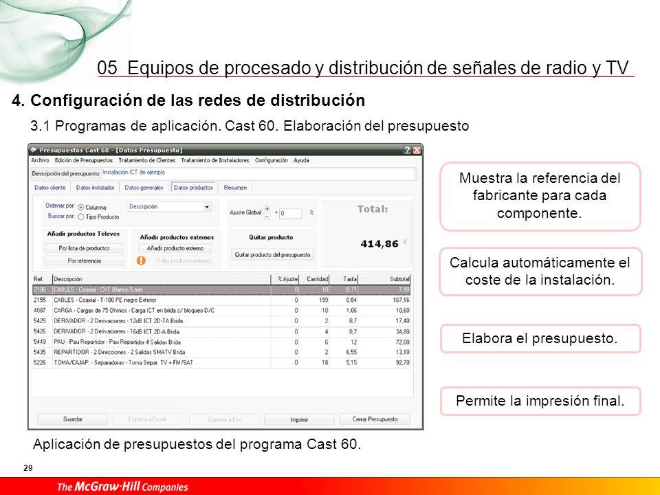 Equipos de procesado y distribución de señales de radio y TV 29 05 3.1 Programas de aplicación. Cast 60. Elaboración del presupuesto 4. Configuración