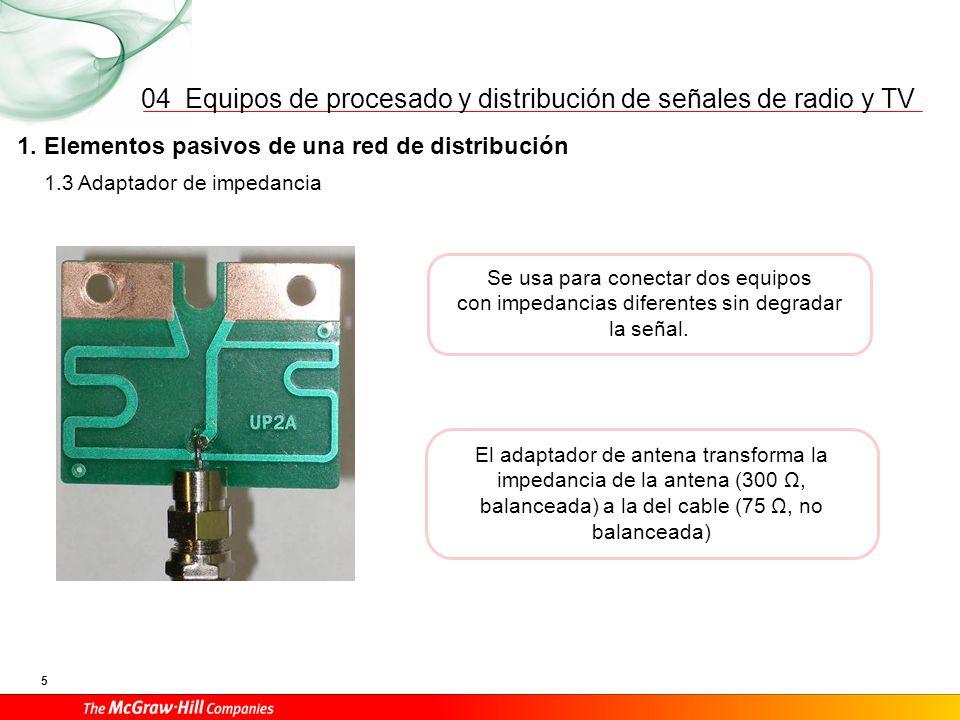 Equipos de procesado y distribución de señales de radio y TV 5 04 1. Elementos pasivos de una red de distribución Se usa para conectar dos equipos con