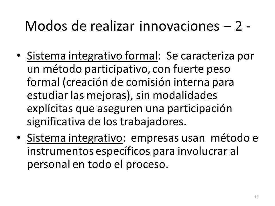 Modos de realizar innovaciones – 2 - Sistema integrativo formal: Se caracteriza por un método participativo, con fuerte peso formal (creación de comis