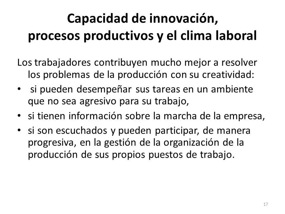 17 Capacidad de innovación, procesos productivos y el clima laboral Los trabajadores contribuyen mucho mejor a resolver los problemas de la producción