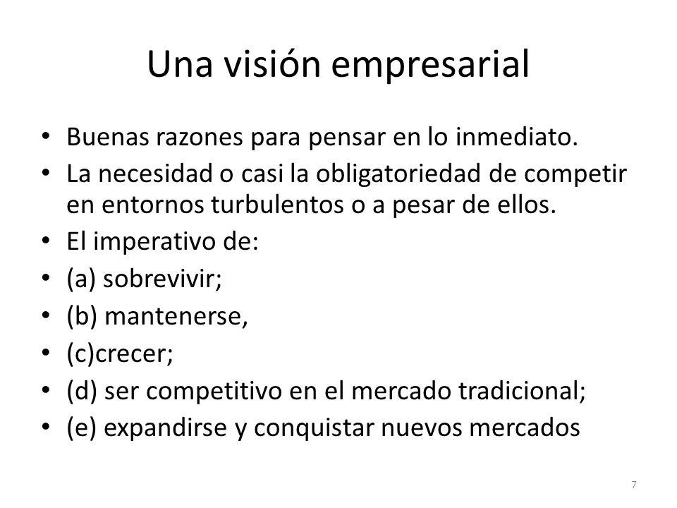 Una visión empresarial Buenas razones para pensar en lo inmediato. La necesidad o casi la obligatoriedad de competir en entornos turbulentos o a pesar