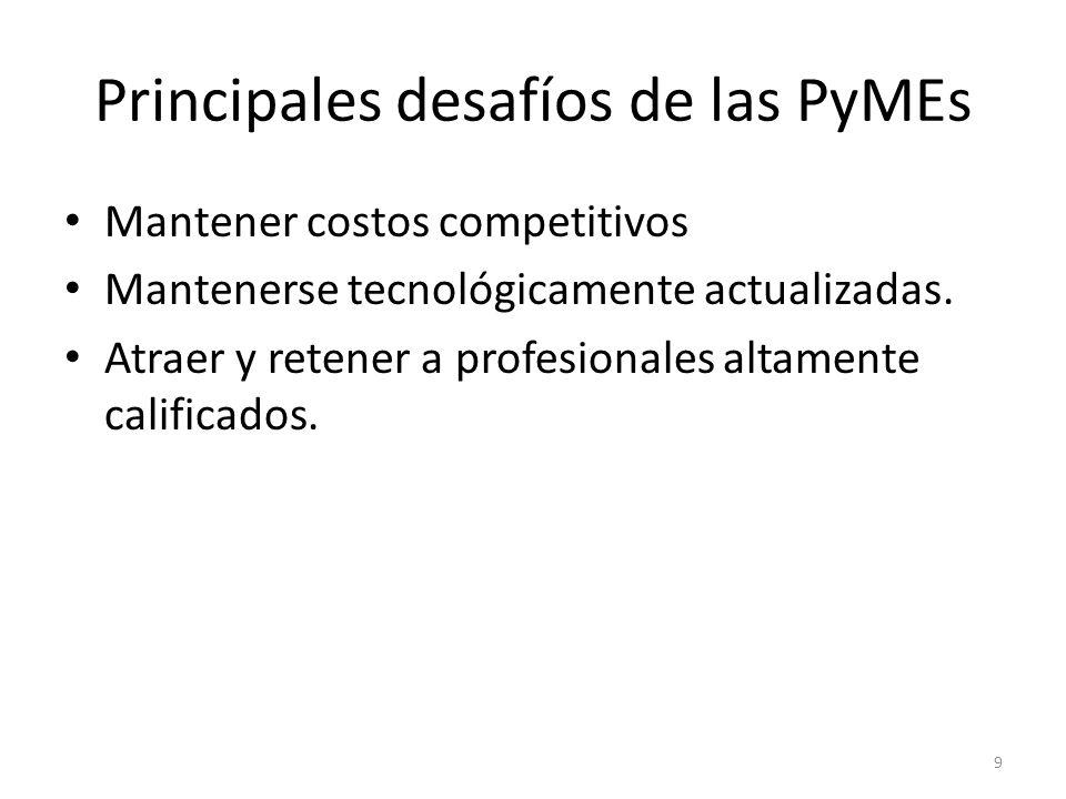 Principales desafíos de las PyMEs Mantener costos competitivos Mantenerse tecnológicamente actualizadas. Atraer y retener a profesionales altamente ca