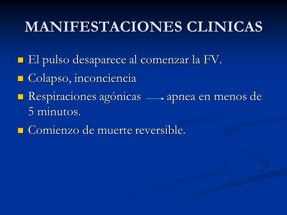 MANIFESTACIONES CLINICAS Al principio puede haber respiraciones agónicas; inconsciente, sin respuesta.