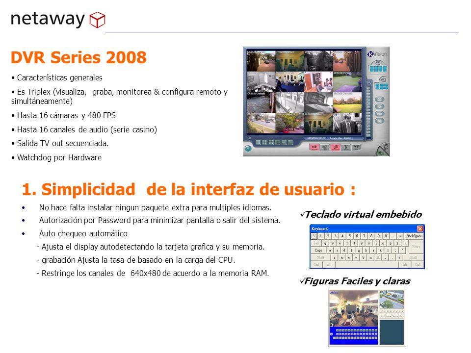 DVR Series 2008 Características generales Es Triplex (visualiza, graba, monitorea & configura remoto y simultáneamente) Hasta 16 cámaras y 480 FPS Has