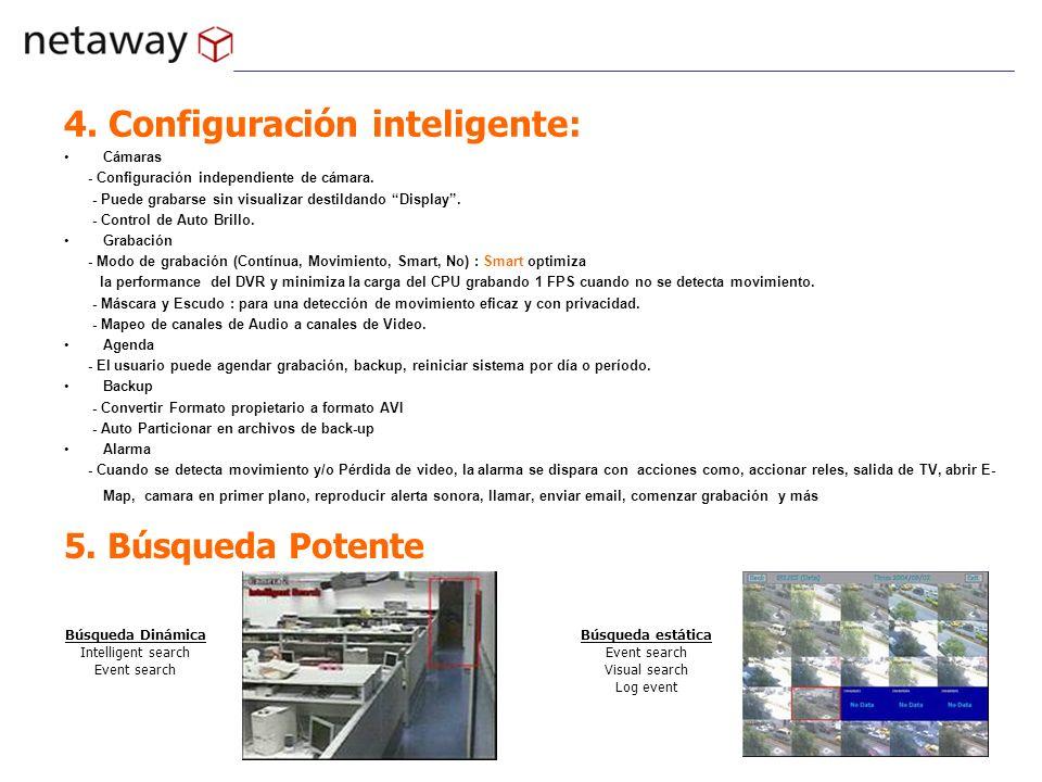 4. Configuración inteligente: Cámaras - Configuración independiente de cámara. - Puede grabarse sin visualizar destildando Display. - Control de Auto