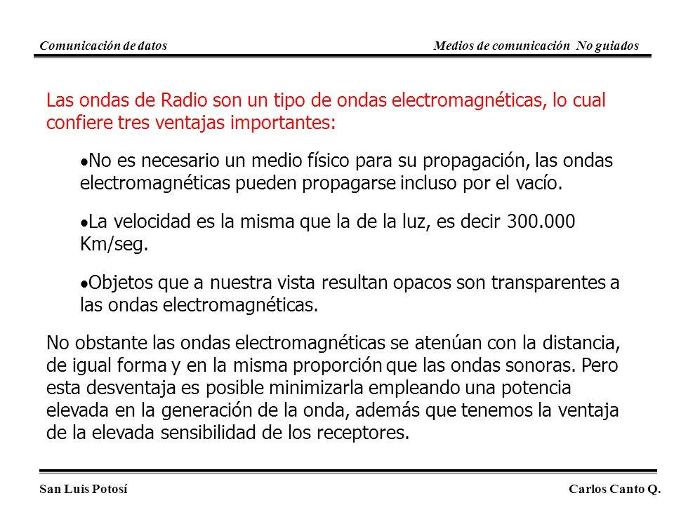 Las ondas de Radio son un tipo de ondas electromagnéticas, lo cual confiere tres ventajas importantes: No es necesario un medio físico para su propagación, las ondas electromagnéticas pueden propagarse incluso por el vacío.