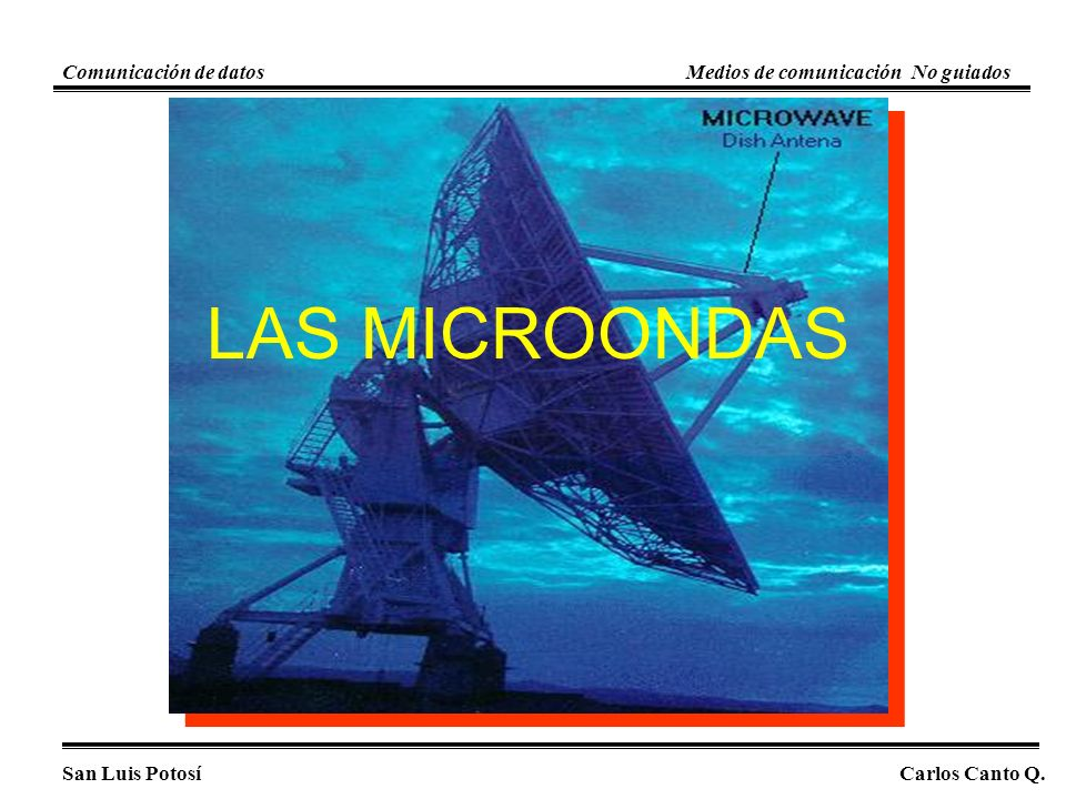 San Luis PotosíCarlos Canto Q. Comunicación de datosMedios de comunicación No guiados LAS MICROONDAS