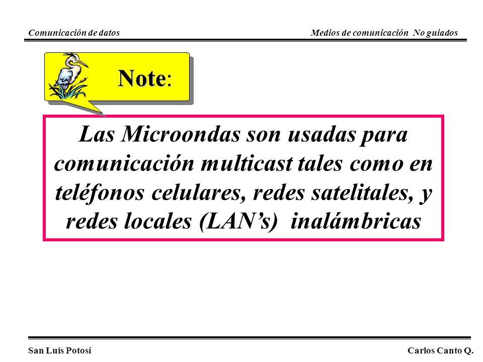 Las Microondas son usadas para comunicación multicast tales como en teléfonos celulares, redes satelitales, y redes locales (LANs) inalámbricas Note: San Luis PotosíCarlos Canto Q.