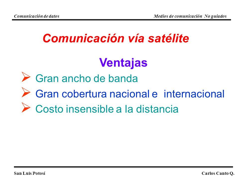 Comunicación vía satélite Ventajas Gran ancho de banda Gran cobertura nacional e internacional Costo insensible a la distancia San Luis PotosíCarlos Canto Q.
