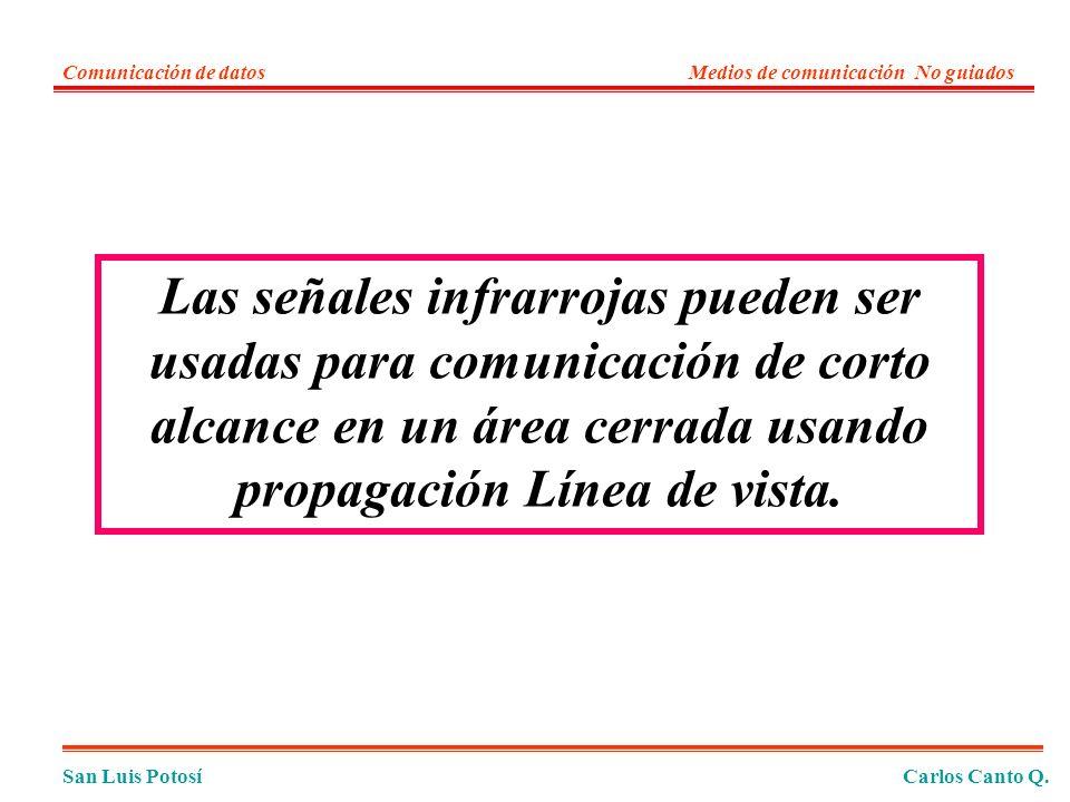 Las señales infrarrojas pueden ser usadas para comunicación de corto alcance en un área cerrada usando propagación Línea de vista.