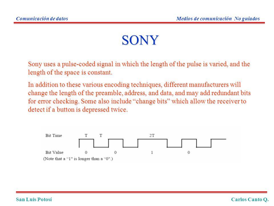 San Luis PotosíCarlos Canto Q. Comunicación de datosMedios de comunicación No guiados Sony uses a pulse-coded signal in which the length of the pulse
