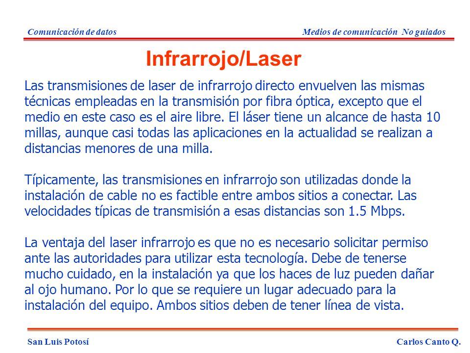 San Luis PotosíCarlos Canto Q. Comunicación de datosMedios de comunicación No guiados Las transmisiones de laser de infrarrojo directo envuelven las m