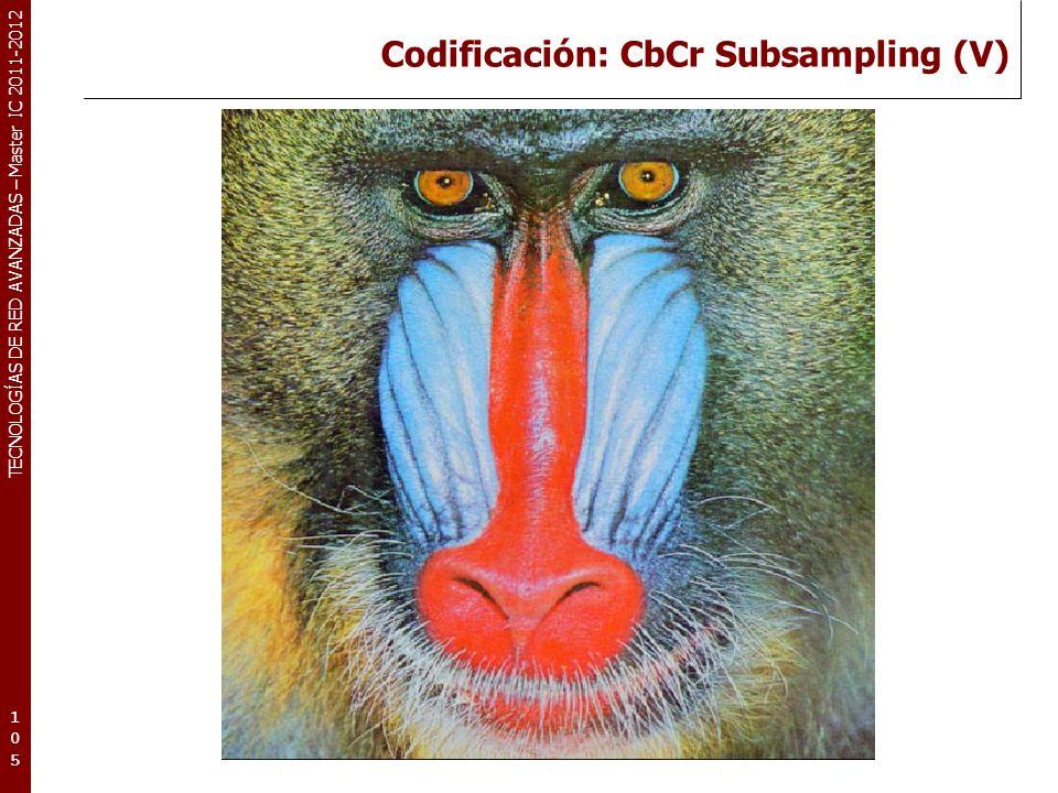 TECNOLOGÍAS DE RED AVANZADAS – Master IC 2011-2012 Codificación: CbCr Subsampling (V) 105105105