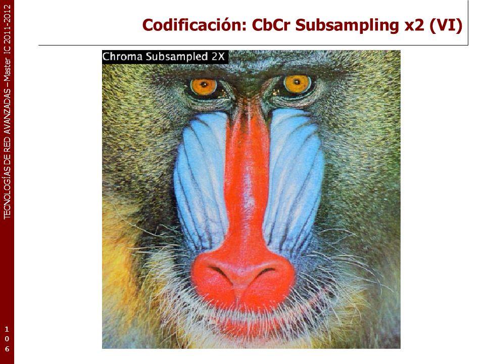 TECNOLOGÍAS DE RED AVANZADAS – Master IC 2011-2012 Codificación: CbCr Subsampling x2 (VI) 106106106