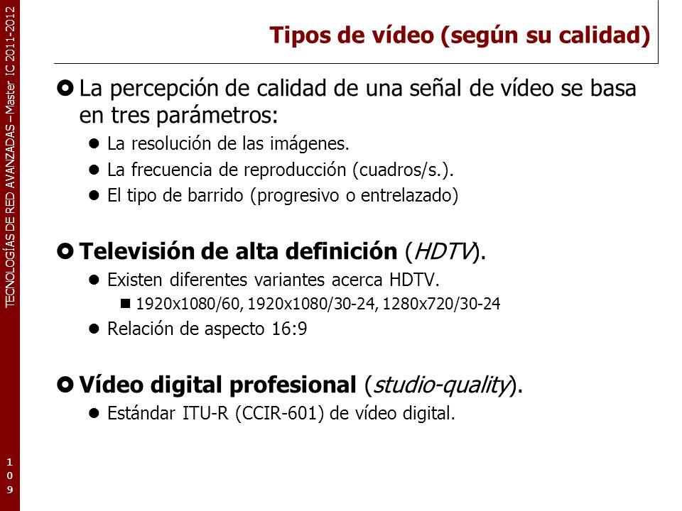 TECNOLOGÍAS DE RED AVANZADAS – Master IC 2011-2012 Tipos de vídeo (según su calidad) La percepción de calidad de una señal de vídeo se basa en tres pa