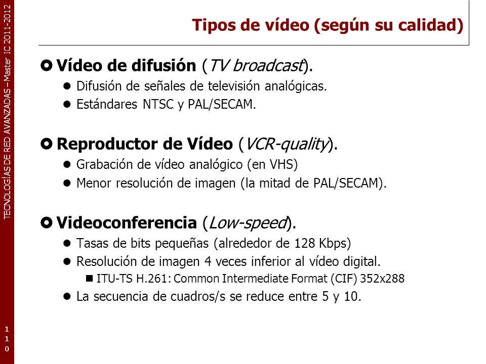 TECNOLOGÍAS DE RED AVANZADAS – Master IC 2011-2012 Tipos de vídeo (según su calidad) Vídeo de difusión (TV broadcast). Difusión de señales de televisi
