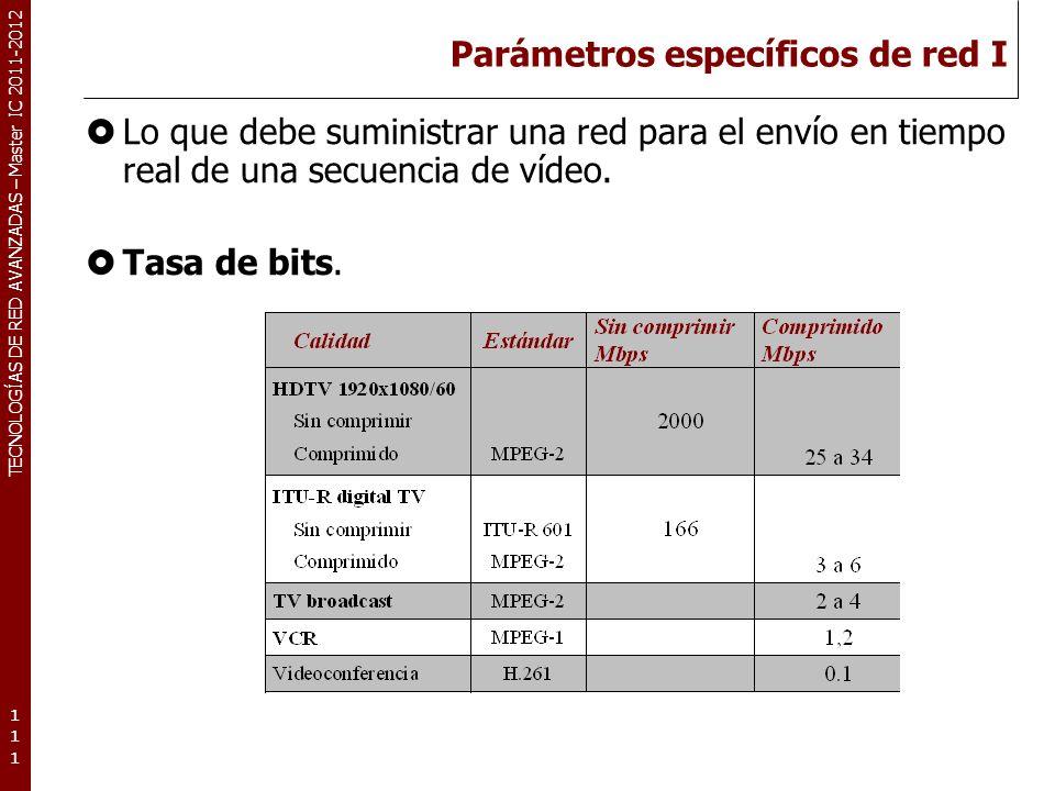 TECNOLOGÍAS DE RED AVANZADAS – Master IC 2011-2012 Parámetros específicos de red I Lo que debe suministrar una red para el envío en tiempo real de una