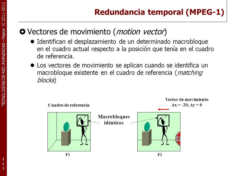 TECNOLOGÍAS DE RED AVANZADAS – Master IC 2011-2012 Redundancia temporal (MPEG-1) Vectores de movimiento (motion vector) Identifican el desplazamiento