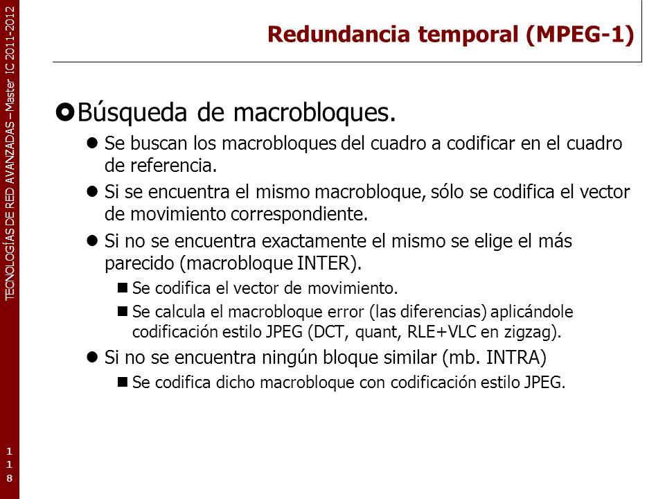 TECNOLOGÍAS DE RED AVANZADAS – Master IC 2011-2012 Redundancia temporal (MPEG-1) Búsqueda de macrobloques. Se buscan los macrobloques del cuadro a cod