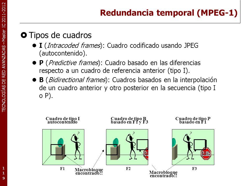 TECNOLOGÍAS DE RED AVANZADAS – Master IC 2011-2012 Redundancia temporal (MPEG-1) Tipos de cuadros I (Intracoded frames): Cuadro codificado usando JPEG