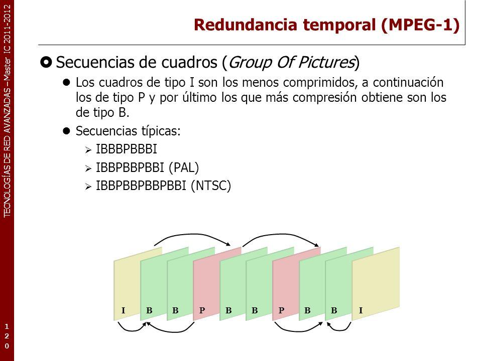 TECNOLOGÍAS DE RED AVANZADAS – Master IC 2011-2012 Redundancia temporal (MPEG-1) Secuencias de cuadros (Group Of Pictures) Los cuadros de tipo I son l